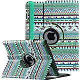 iPad Case , ULAK Tribal 360 Degree Rotating Protective Synthetic Leather Stand Case Cover for Apple iPad 2 3 4 (Green Tribal)