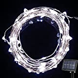 {Newest Version} GRDE® Polychrome 150 LED 72 Feet Solar Powered Starry String Lights Copper Wire Ambiance Light Solar Fairy DIY Shape String Lighting for Indoor Outdoor, Gardens, Trees, Eave, Fence, Banisters, Balcony, Christmas Wedding Birthday Party-2 Modes (Steady on / Twinkle) (White)