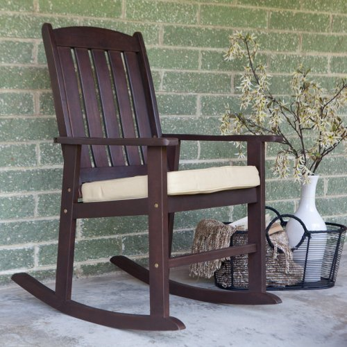 Coral Coast Coral Coast Cabos Collection Rocking Chair With Cushion, Brown, Wood front-693532