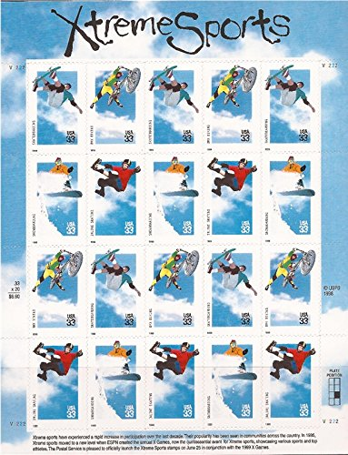 Xtreme Sports Collectible Sheet of Twenty 33 Cent Stamps
