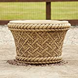 Large Garden Planter - Woven Plant Pot Bathstone Stone