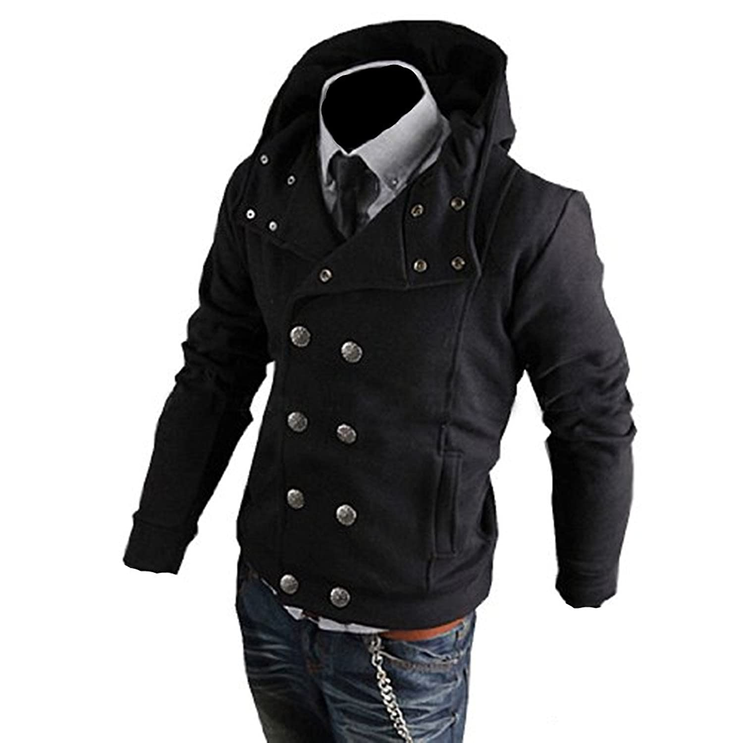 Amoin Men Casual Fashion Zipper Slim Fit Hoodies Jackets Coats Partiss Mens Double Breasted