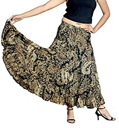 COTTON BREEZE Women's Cotton Regular Fit Skirt (Black, Free Size)