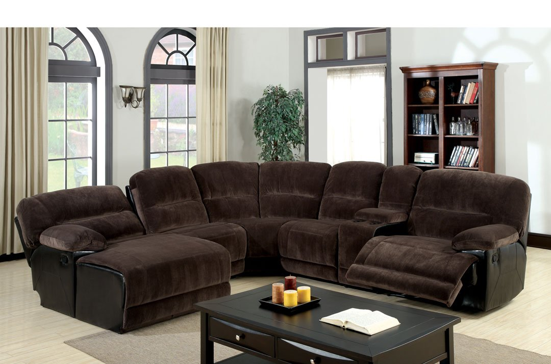Kirawsk Sectional Sofa Upholstered in Dark Brown Heavy Elephant Skin Microfiber