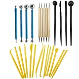 27PCS Fondant Cake Decorating Sculpting Modeling tools and Gum Paste Decorating Tool Kit for Cake Flower, Sculpture Pottery by CSPRING (Color: blue, yellow, black)