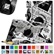 """Fintie Fire HD 10 2015 Case - Premium PU Leather 360 Degree Rotating Cover Swivel Stand Dual Auto Sleep/Wake for Amazon Fire HD 10 Tablet (10.1"""" HD Display 5th Generation - 2015 release), Newspaper"""