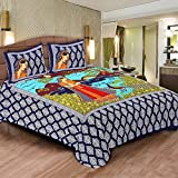 PAHNAWA Peacock Printed Cotton Double Bedsheet (With Pillow Covers)