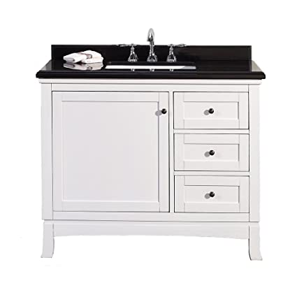 "Ove Sophia-42 Vanity with Black Granite Countertop and 20"" Rectangular Undermount Basin, 42"", White"