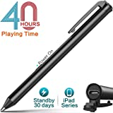 Heiyo iPad Active Stylus Pens Supporting 40 hrs Playing Time 30-Day Standby 120s Built-in Battery Auto Power Off 3 Replaceable Fine Point Rubber Tips Touchscreen Styli Compatible with iPad Series (Color: black-01)