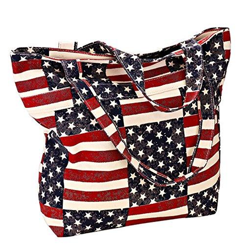 God Bless America USA Flag Shoulder Tote Bag Canvas Weekender