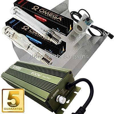600w Omega MH & HPS SUPER Twin Light Grow & Flower Kit. Digital Dimmable Ballast, Reflector Hood