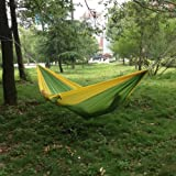 Enjoydeal Portable Parachute Nylon Fabric Travel Camping Hammock For Double Two Person (Green& Yellow)