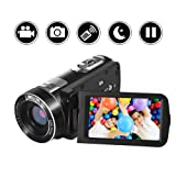 "SEREE Video Camera Camcorder Full HD 1080p Digital Camera 24.0MP 18x Digital Zoom 3.0"" LCD 270° Rotation Screen with Remote Control (Color: B4)"