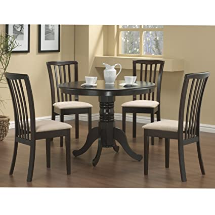 Brannan Dining Collection 5Pcs Round Dining Table Padded Chairs Set