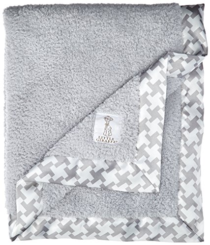 Little Giraffe Chenille Hounds Tooth Baby Blanket, Silver