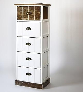 Kommode weiß / braun, Landhausstil, mit 5 Schubladen, 40 x 111 x 30 cm