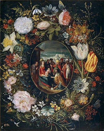 High Quality Polyster Canvas ,the Cheap But High Quality Art Decorative Art Decorative Canvas Prints Of Oil Painting 'Brueghel El Joven Pieter Guirnalda Con La Adoracion De Los Reyes Magos ', 30 X 38 Inch / 76 X 96 Cm Is Best For Study Artwork And Home Decoration And Gifts