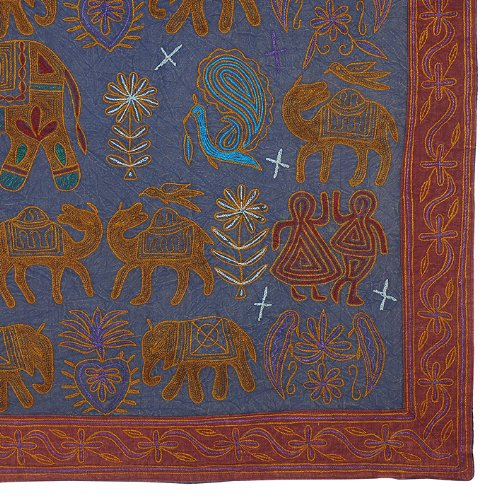 Imagen 3 de Algodón tapiz Tapiz Adorna con bordado tradicional Tamaño 58 x 33 pulgadas