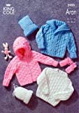 King Cole Baby Sweater, Jacket, Mitts & Hat Aran Knitting Pattern 2905