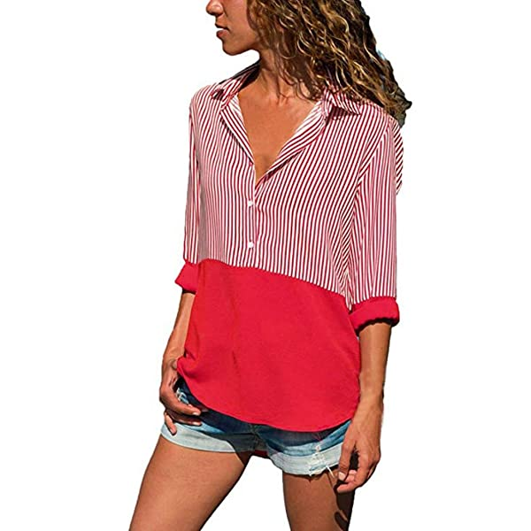 174067140d vermers Clearance Womens Long Sleeve T Shirts - Women Fashion Striped  Patchwork Tops Loose Casual Blouses(M, ...