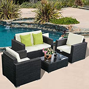 Tangkula 4PC Patio Wicker Rattan Sofa Furniture Set Patio Garden Lawn Cushioned Seat (Black) by Tangkula