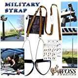 WOSS Military Strap Suspension Trainer, Brown, with Built-In Door Anchor, Made in USA