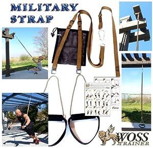 WOSS Military Strap Suspension Schlingen Trainer, Braun, mit integriertem Türanker, Made in USA.