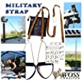 WOSS Military 1in Strap Suspension Trainer, Brown, Made in USA with Built-In Door Anchor. Made in USA