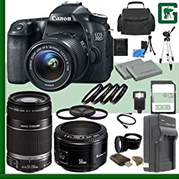Canon EOS 70D Digital SLR Camera Kit with 18-55mm IS STM Lens and Canon 55-250mm Lens and Canon 50mm f/1.8 Lens + 32GB Green\'s Camera Package 1