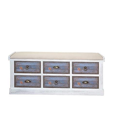 Sitzkommode in Blau Weiß Vintage Design Pharao24