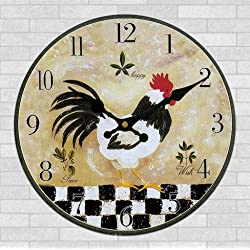 Schmuckbox 16 Vintage France Paris Colorful French Country Tuscan Style Non-Ticking Silent Wood Wall Clock with rooster