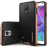 Galaxy Note 4 Case, Caseology [Bumper Frame] Samsung Galaxy Note 4 Case [Leather Black] Slim Fit Skin Cover [Shock Absorbent] TPU Bumper Galaxy Note 4 Case [Made in Korea] (for Samsung Galaxy Note 4 Verizon, AT&T Sprint, T-mobile, Unlocked)
