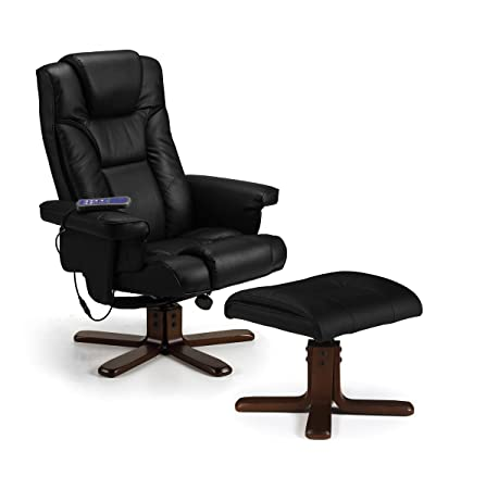 Malmo Massage Recliner Chair & Stool Black Upholstered Comfortable