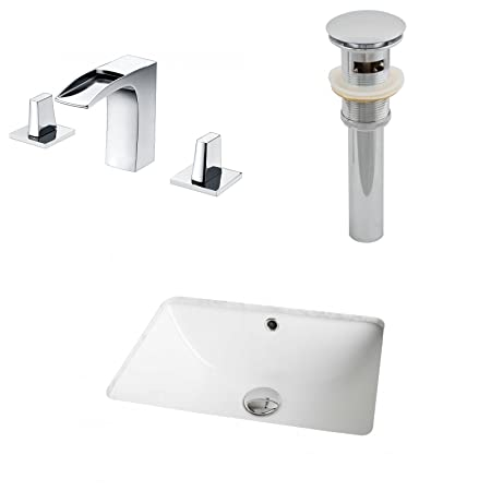 "Jade Bath JB-13065 18.25"" W x 13.75"" D CUPC Rectangle Undermount Sink Set with 8"" o.c. CUPC Faucet and Drain, White"