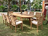 """Grade-A Teak Wood Luxurious Dining Set Collections: 7 Pc - 94"""" Oval Table and 6 Hari Stacking Arm Chairs #TSDSHR4"""