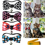 Cool Gentle Stylish Wild Adjustable Cat Dog Rabbit Pet Cloth Bowknot Collar Bow tie with Alloy Bell for Small Cats Kitten Dogs Puppy Rabbits, Pack of 4