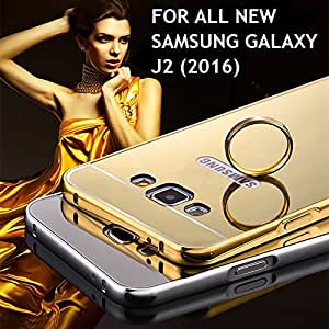 G M Brothers *MIRROR ALUMINIUM METAL* Bumper Back Cover Case For Samsung Galaxy J2 (2016) (Gold)