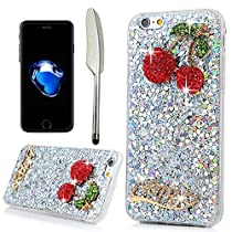 YOKIRIN iPhone 7 Case, Luxury Sparkle Powder 3D Handmade Crystal Rhinestone with TWO Cute Bling Red Cherry Slim Glitter Flexible Soft Rubber Gel Silicone TPU Protective Shell Hybrid Bumper Case Cover
