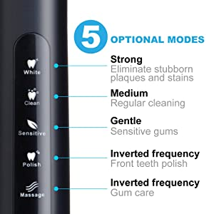 Fairywill Electric Toothbrush Rechargeable Cleaning as Dentist with 5 Optional Modes 8 Brush Heads Whitening Sonic Toothbrushes for Adults Built-in Smart Timer Travel Case Included, Black
