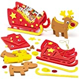 3D Reindeer & Sleigh Foam Kits for Children to Make and Display (Pack of 2)