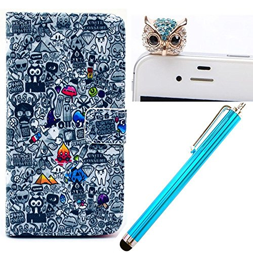 Vandot 3 In1 Accessory Set For Samsung Galaxy S3 Siii Mini I8190 Pu Leather Cover Ghost Leather Case Protective Synthetic Leather Silicone Skin Shell Bow Cover With Stand Holder + Blue Owl Glitter Anti Dust Plugs + Blue Metal Stylus Touch Pen - White Blac front-457781