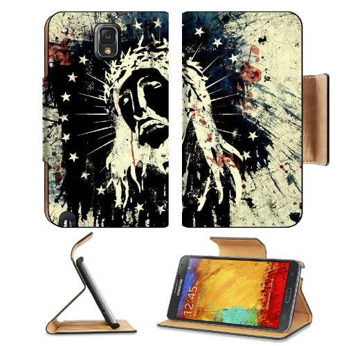 Jesus Christ America Trust God Samsung Galaxy Note 3 N9000 Flip Case Stand Magnetic Cover Open Ports Customized Made To Order Support Ready Premium Deluxe Pu Leather 5 15/16 Inch (150Mm) X 3 1/2 Inch (89Mm) X 9/16 Inch (14Mm) Liil Note Cover Professional