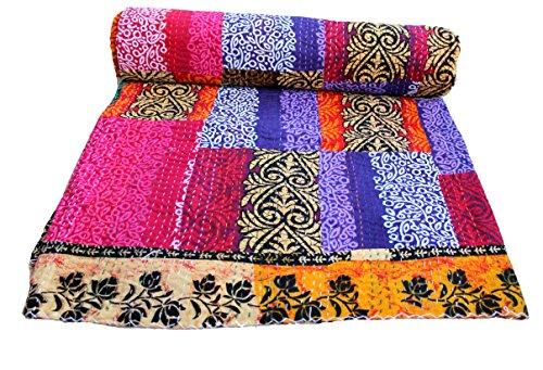 Mango de funda de edredón Kantha Patchwork para cama de matrimonio de regalos de colcha Reversible cama tamaño 88 x 269,24 cm hecho a mano