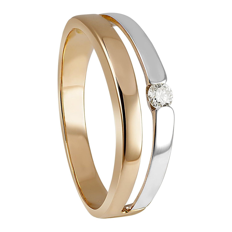 Diamond Line Damen-Ring 585 Rotgold teilrhodiniert Diamant (0.07 ct) weiß Brillantschliff – 1195 bestellen