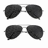 2pcs Pack Anti-myopia Pin hole Glasses, Vision Correction Glasses Anti-Fatigue Glasses Vision Care Eyesight Improver Glasses(2pcs Silver Color) (Color: 2pcs Silver Color)