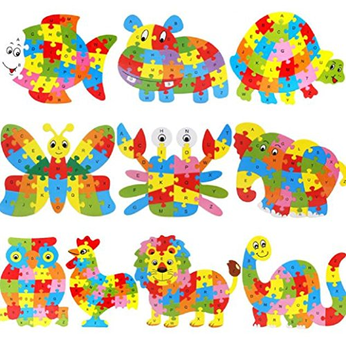 [TIFENNY Wooden Animal Puzzle Jigsaw Letter Blocks Kid Learing Educational Toy] (2 Year Old Costumes Uk)