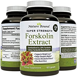 Pure Forskolin Extract - Indian Coleus Forskolin Plant Therapy for Natural Weight Loss - Burn Fat - Boost Metabolism - #1 Antioxidant - Look Leaner & Boost Confidence for Women & Men by Nature Bound