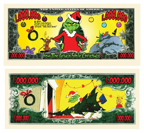 The Grinch Million Dollar Bill Collectible in Currency Holder - 1