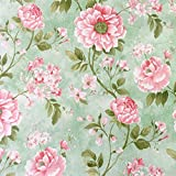 SimpleLife4U Vintage Flower Contact Paper Self-Adhesive Shelf Liner Makeup Jewelry Cabinet Decor 17.7 Inch By 9.8 Feet (Color: Multicolor)