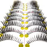 MapofBeauty 10 Pairs Thick and Long False Eyelashes Makeup Eye Lashes (Black-#01)